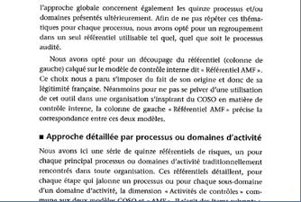 L'approche globale suivant le référentiel «AMF» avec correspondance COSO II